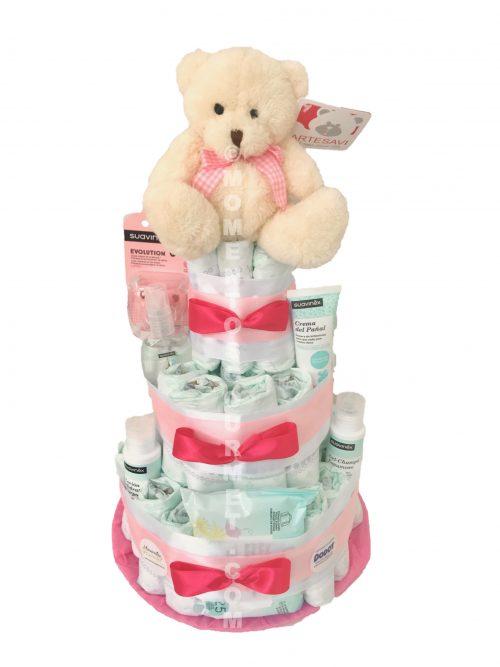 Tarta-de-pañales-Suavinex-rosa-momentosgourmet
